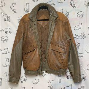 Vintage Contrast Leather Jacket